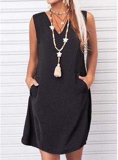 Sólido Vestidos sueltos Sin mangas Mini Pequeños Negros Casual Franelilla Vestidos de moda