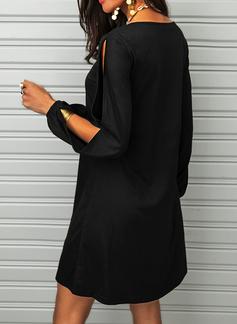 Solido Abiti dritti Spalle esposte Mini Piccolo nero Casuale Vestiti di moda