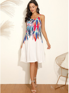 knælange rund hals Polyester Print Uden Ærmer Mode kjoler