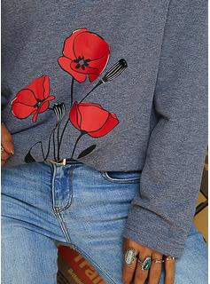 Floreale Stampa Scollatura a V Maniche lunghe Casuale Camicie