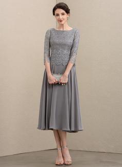 Corte A Decote redondo Comprimento médio Tecido de seda Renda Vestido para a mãe da noiva