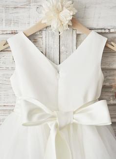 Forme Princesse Longueur genou Robes à Fleurs pour Filles - Satiné/Tulle Sans manches Col V avec À ruban(s)/Strass