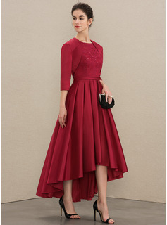 A-Line Scoop Neck Asymmetrical Satin Lace Cocktail Dress With Sequins