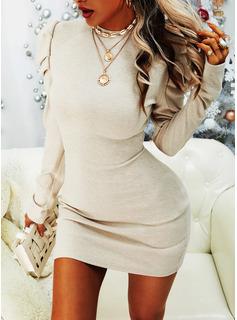 Einfarbig Figurbetont Lange Ärmel Puffärmel Mini Lässige Kleidung Modekleider