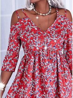 Floral Impresión Vestidos sueltos Mangas 3/4 Midi Casual Túnica Vestidos de moda