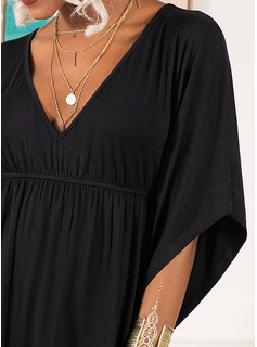 Solid 1/2 Sleeves Polyester V Neck Plus Size Blouses Blouses