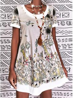 Animal Print Floral Print Shift Short Sleeves Midi Casual Vacation Tunic Dresses