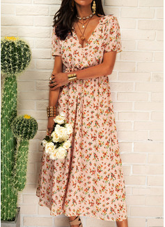 Floral Print A-line Short Sleeves Midi Boho Casual Vacation Skater Wrap Dresses