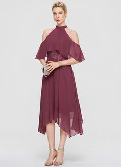 A-Line High Neck Asymmetrical Chiffon Cocktail Dress