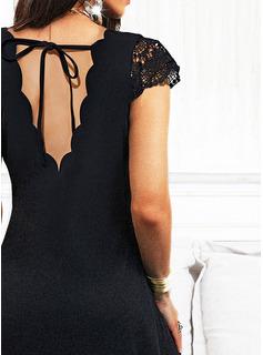 Sólido Vestido línea A Midi Pequeños Negros Casual Patinador Vestidos de moda
