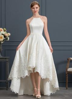 A-Line Square Neckline Asymmetrical Satin Wedding Dress With Lace Pockets