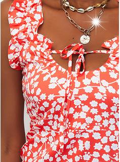 Blomster Print Blondér Bodycon Ærmeløs Mini Casual Mode kjoler