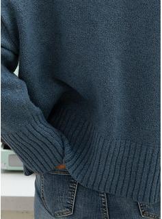 Vネック カジュアル 固体 チャンキー・ニット セーター