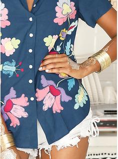 Blomstrete Trykk V-hals Kortermer Button up Avslappet Skjorte Bluser