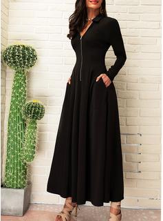 Einfarbig A-Linien-Kleid Lange Ärmel Maxi Kleine Schwarze Elegant Skater Modekleider