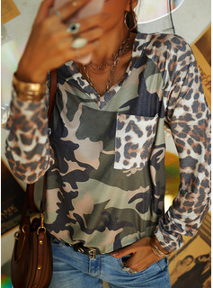 Leopard V-Neck Long Sleeves Casual T-shirt