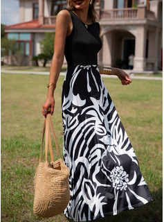 Print A-line Sleeveless Maxi Elegant Vacation Skater Dresses