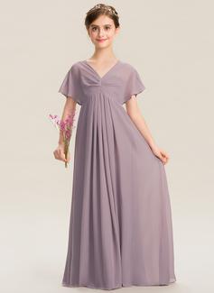 Empire V-neck Floor-Length Chiffon Junior Bridesmaid Dress With Ruffle