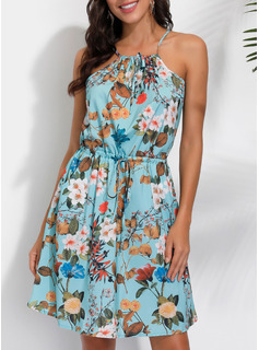 Kwiatowy Nadruk Sukienka Trapezowa Bez Rękawów Mini Nieformalny Wakacyjna Rodzaj Modne Suknie