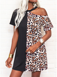 Leopard Shift Short Sleeves Mini Casual Tunic Dresses