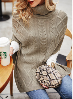 Turtleneck Casual Long Solid Cable-knit Sweaters