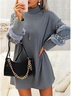 固体 ビーズ シフトドレス 長袖 ミニ リトルブラックドレス カジュアル チュニック ファッションドレス