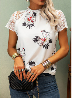 Floral Lace Patchwork Print Round Neck Short Sleeves Casual Blouses