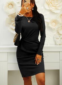 Einfarbig Figurbetont Lange Ärmel Midi Kleine Schwarze Lässige Kleidung Elegant Bleistift Modekleider