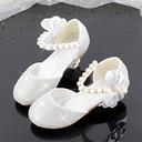 Muchacha Encaje Sparkling Glitter Zapatos de niña de las flores con Cuentas Bowknot Crystal Perla