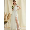 A-Line V-neck Floor-Length Chiffon Wedding Dress With Split Front Cascading Ruffles (002234884)
