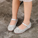 Girl's Round Toe Closed Toe Leatherette Low Heel Flats Sneakers & Athletic Flower Girl Shoes With Sparkling Glitter Velcro
