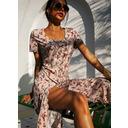 Floral Print Sheath Short Sleeves Midi Casual Vacation Dresses (294253420)