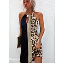 Leopardo Trozos de color Impresión Escotado por detrás Vestidos sueltos Sin mangas Mini Casual Vestidos de moda (294258348)