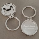 Personalized Round Stainless Steel/Zinc Alloy Keychains (Set of 4)