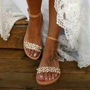 Women's Leatherette Flat Heel Flats Peep Toe Sandals With Crystal (047208110)