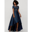 A-Line Scoop Neck Asymmetrical Satin Evening Dress With Beading Sequins (017209137)