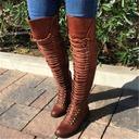 De mujer Cuero Tacón bajo Botas sobre la rodilla con Rivet Cordones zapatos