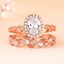 Sterling zilver Zirconia stapelbaar Halo Ovale Snit Verlovings ringen Bruids sets