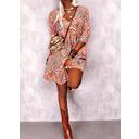 Print Shift 3/4 Sleeves Mini Boho Casual Dresses (294259672)