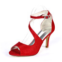 Women's Sparkling Glitter Stiletto Heel Peep Toe Pumps Sandals With Buckle Elastic Band
