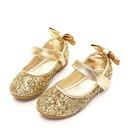 Flicka rund tå Stängt Toe sparkling blänker platt Heel Flower Girl Shoes med Bowknot Glittrande Glitter Kardborre