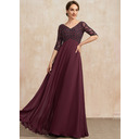Empire V-neck Floor-Length Chiffon Mother of the Bride Dress With Beading (008235578)