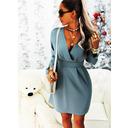 Solid A-linjeklänning Långa ärmar Mini Fritids Elegant skater Modeklänningar (294254655)