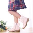 Muchacha Encaje Punta Cerrada Botas al tobillo Kunstleder El talón bajo Planos Botas Zapatos de niña de las flores con Flor Cremallera
