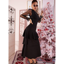 Lace Solid A-line Long Sleeves Maxi Little Black Party Elegant Skater Dresses (294255629)