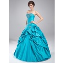 Ball-Gown Sweetheart Floor-Length Taffeta Quinceanera Dress With Embroidered Ruffle Beading (021002883)