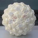 Redondo Satén/Rhinestone/Perlas de imitación Ramos de novia (vendido en una sola pieza) -