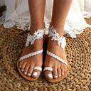 Femmes Similicuir Talon plat Chaussures plates À bout ouvert Sandales avec Couture dentelle