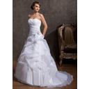 Robe Marquise Amoureux Traîne moyenne Organza Robe de mariée avec Brodé Motifs appliqués Dentelle Fleur(s) (002014843)