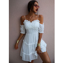 Solid A-line 1/2 Sleeves Cold Shoulder Sleeve Mini Casual Vacation Skater Dresses (294253370)